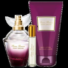 Zestaw Damski AVON Rare Flowers Night Orchid [Perfumy + Balsam + Perfumetka]