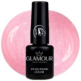 ♚22 Glamour - Lakier Hybrydowy [Sweet Pink - z drobinkami]
