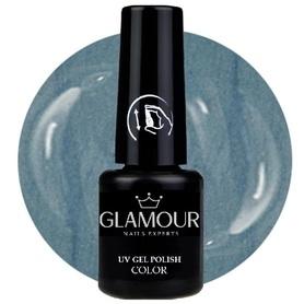 ♚143 Glamour - Lakier Hybrydowy [Silk Blue - metaliczny]
