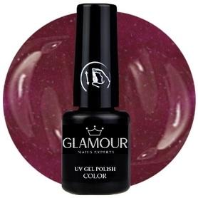 ♚108 Glamour - Lakier Hybrydowy [Wine Dark Red - z drobinkami]