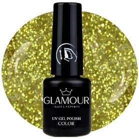 ♚165 Glamour - Lakier Hybrydowy [Glitter Gold / złoty - brokatowy]