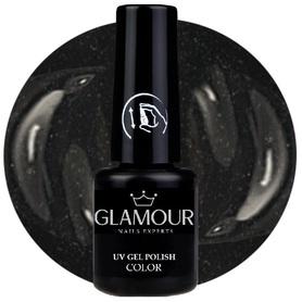 ♚150 Glamour - Lakier Hybrydowy [Glitter Black - Czarny z drobinkami]